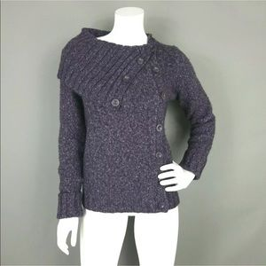 BCBG MAXAZRIA WOOL BLEND SHAWL SHOLDER SWEATER